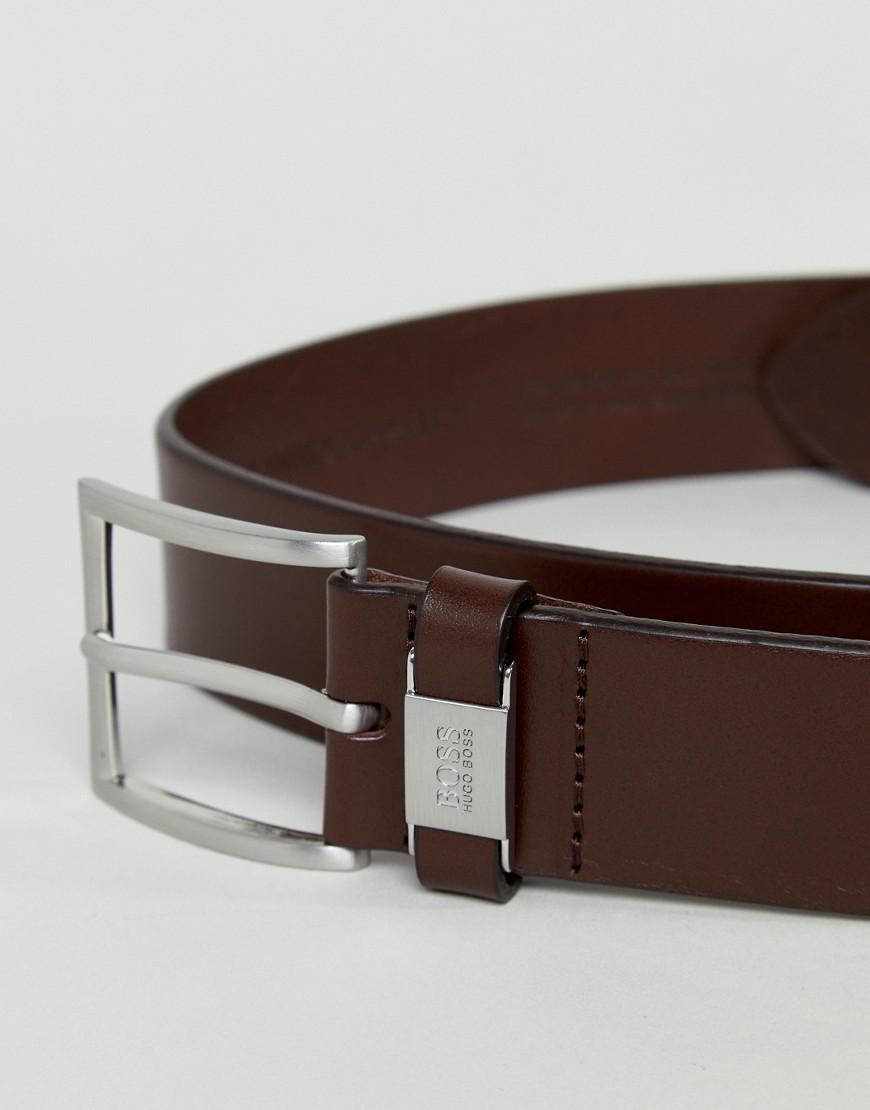 92683a5af BOSS Connio Leather Logo Keeper Belt In Brown in Brown for Men - Lyst