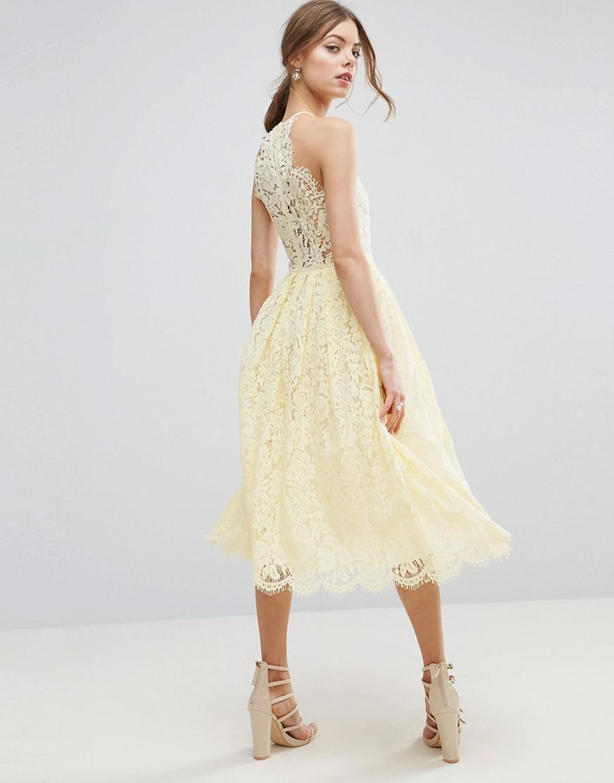 5fd719829d Asos Scallop Pinny Lace Pencil Midi Dress