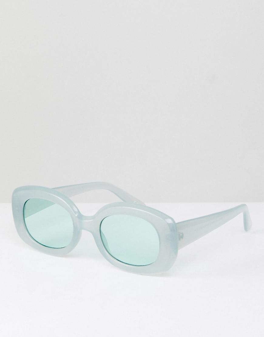 90 Lunettes De Soleil De Mode Métallique De Forme Ovale Avec Lentille De Couleur Bleue - Asos D'argent OBDk4E2m
