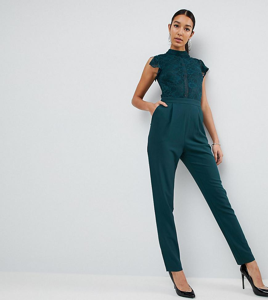 aa7e367b53c0 Lyst - ASOS Lace Top Jumpsuit in Green