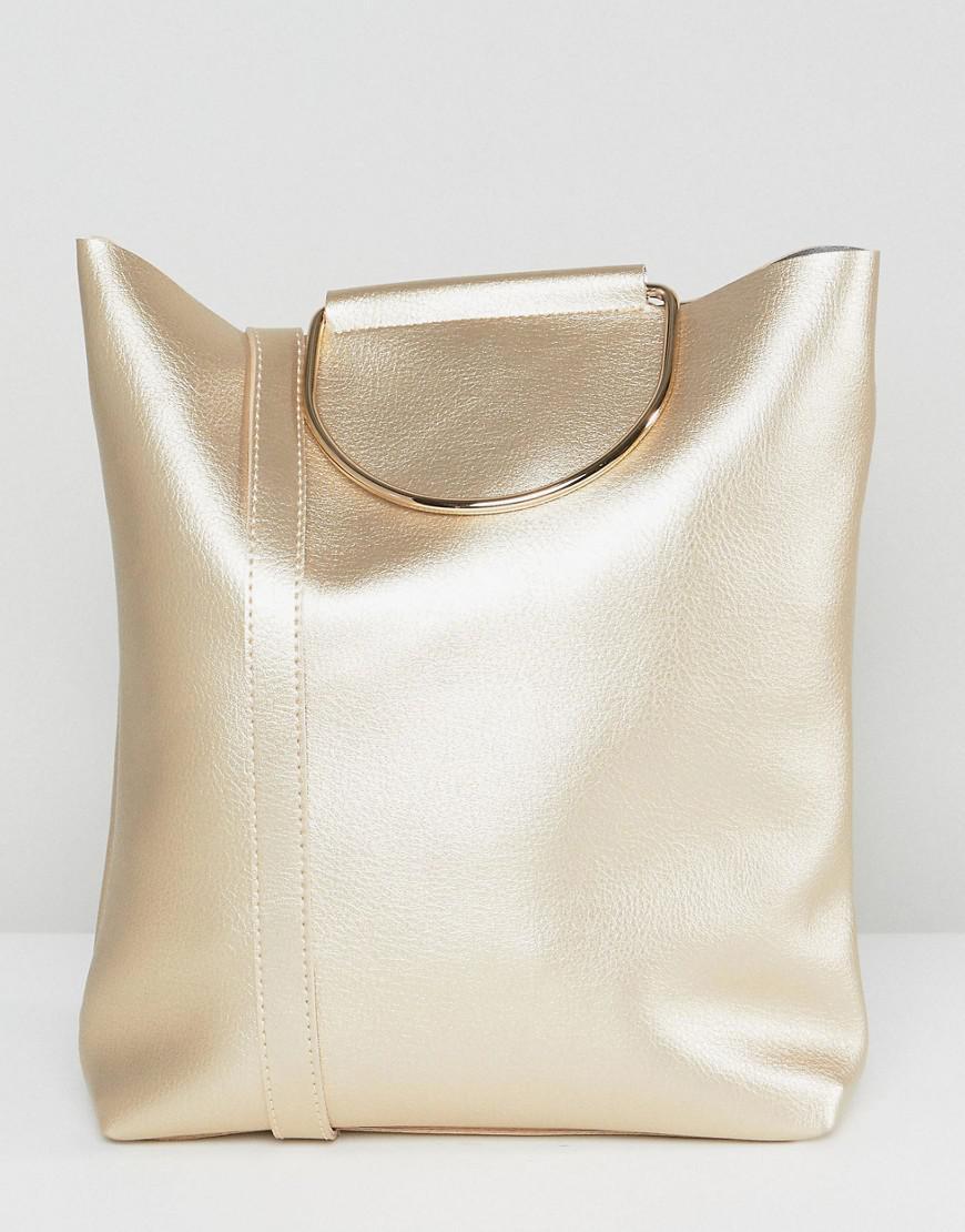 D-Ring Tote Bag with Shoulder Strap in Pearlised Gold - Gold Yoki Fashion CVpeKiMG