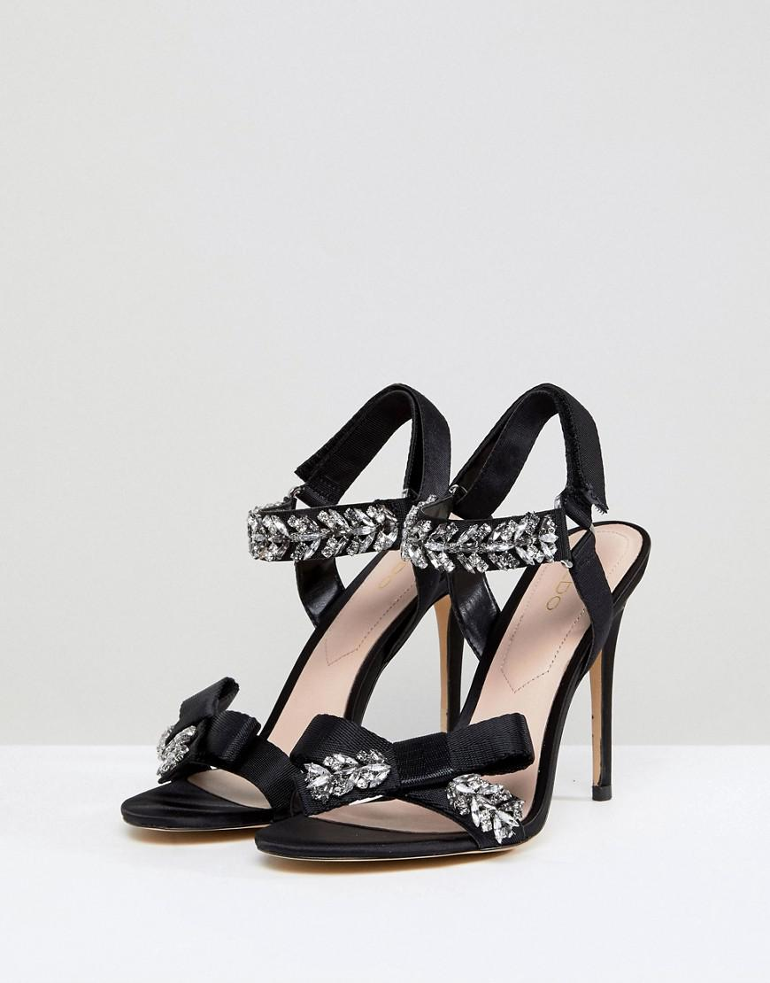 61d10e314ec Lyst - ALDO Two Part Heeled Sandal With Embellishment And Bow Detail in  Black