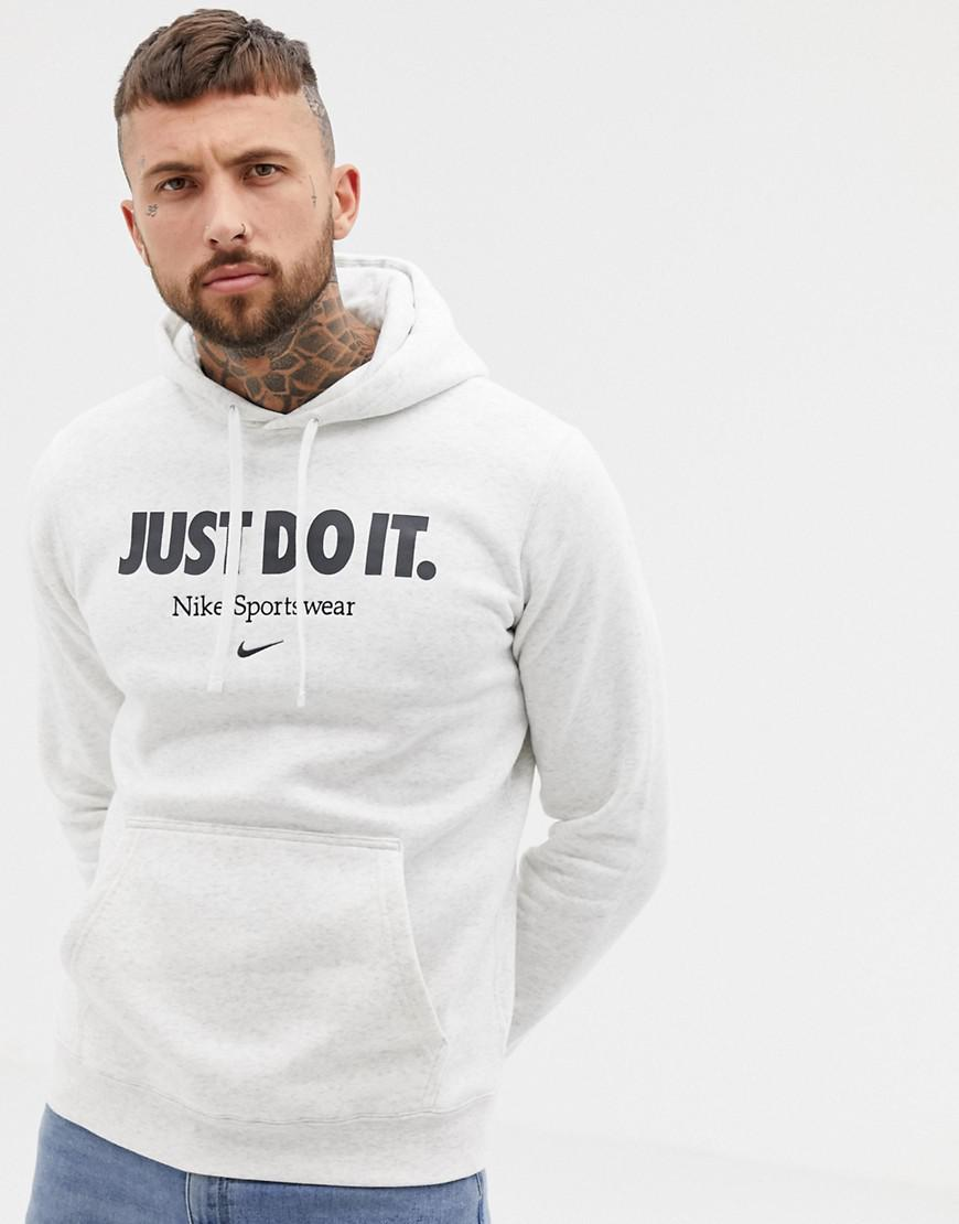 e585db540f3f Nike Embroidered Logo Hoodie In Grey Aq7137-051 in Gray for Men - Lyst