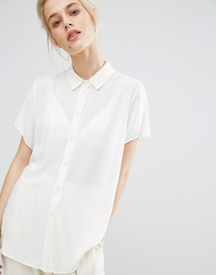 1310ac4ac65ee0 Lyst - Samsøe   Samsøe Samsoe   Samsoe Maj Short Sleeve Shirt in White