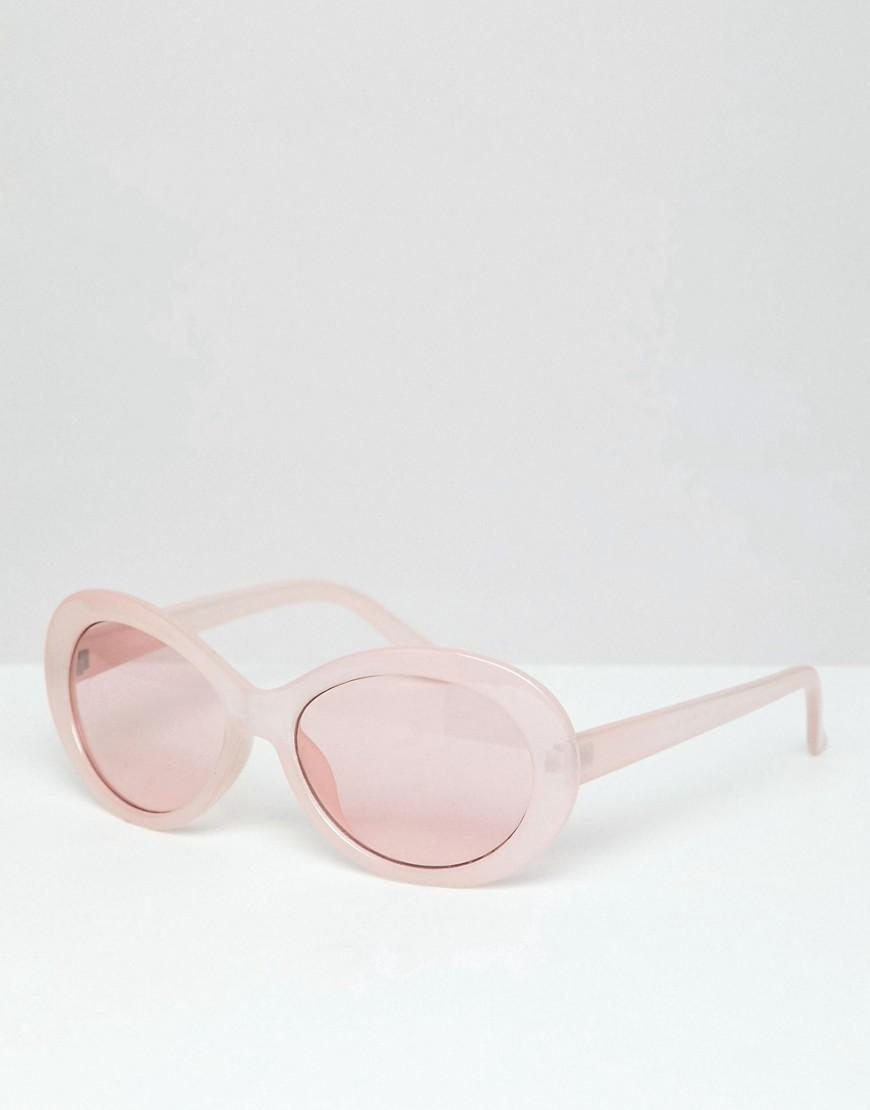 0fd38a5446ec9 Lyst - Gafas de sol con montura ovalada en rosa y lentes rosas de ...