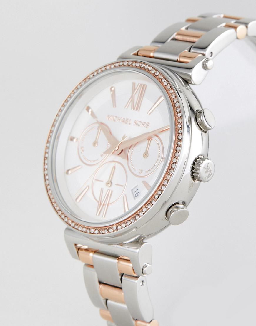 81884fe8bda5 Michael Kors Mk6558 Sofie Bracelet Watch In Mixed Metal 39mm in ...