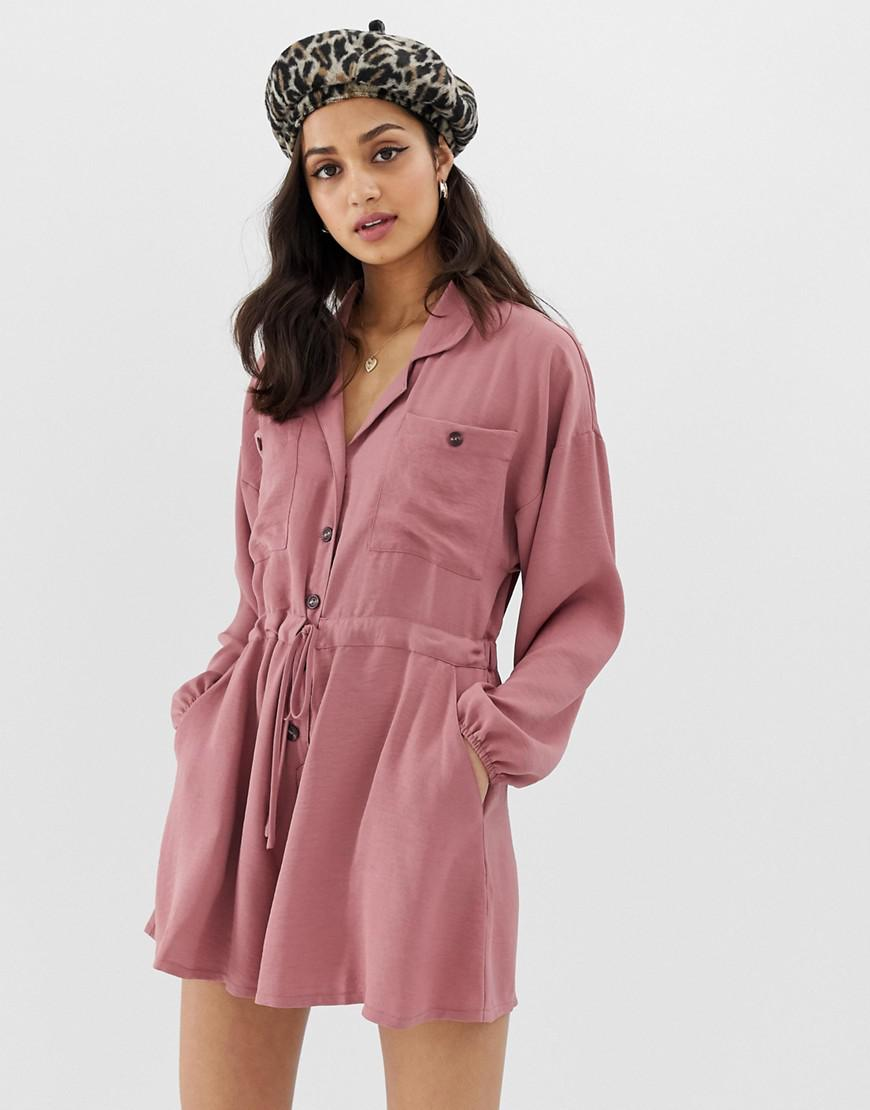 31731abc2dd Lyst - Asos Slouchy Waisted Boiler Playsuit in Pink