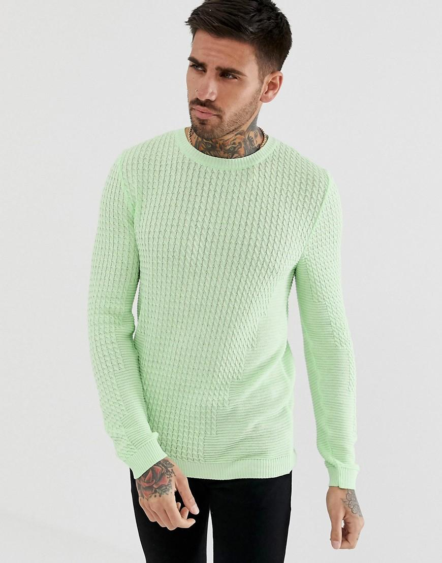 1f11309fe981b ASOS Muscle Fit Lightweight Cable Jumper In Mint Green in Green for ...