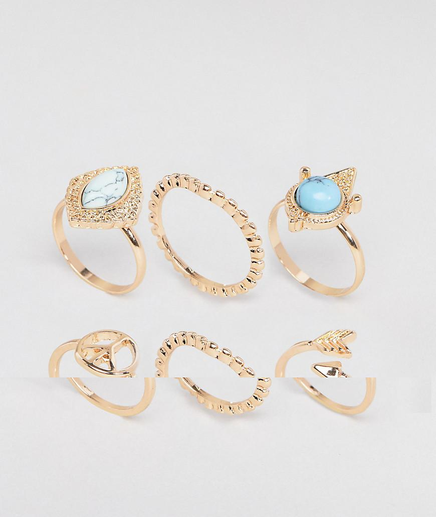 DESIGN pack of 4 mixed stone and floral band rings - Burnished gold Asos HYemeQ