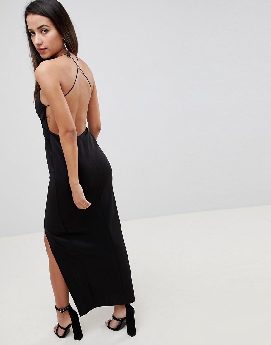 72b2e02ab7 ASOS Cross Front Strappy Maxi Dress in Black - Lyst