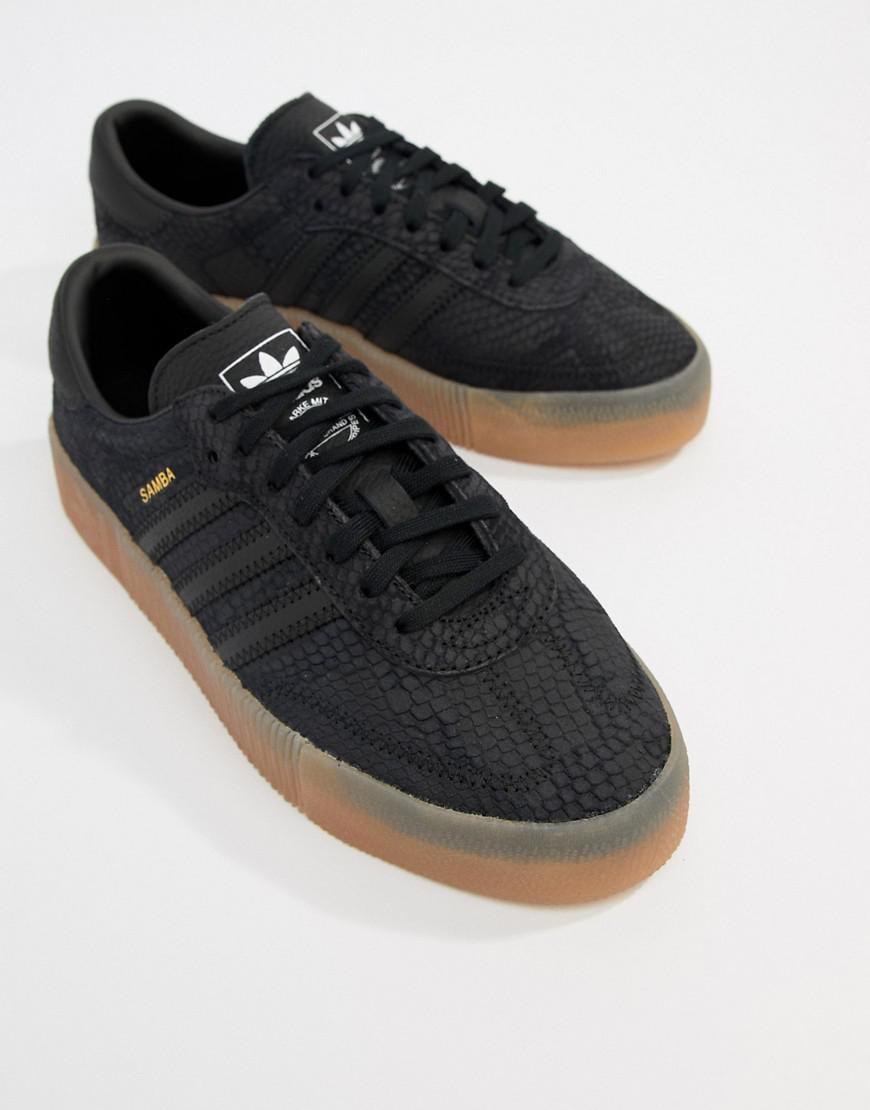 Lyst - adidas Originals Samba Rose Sneakers In Black With Gum Sole in Black 3ddcb908d