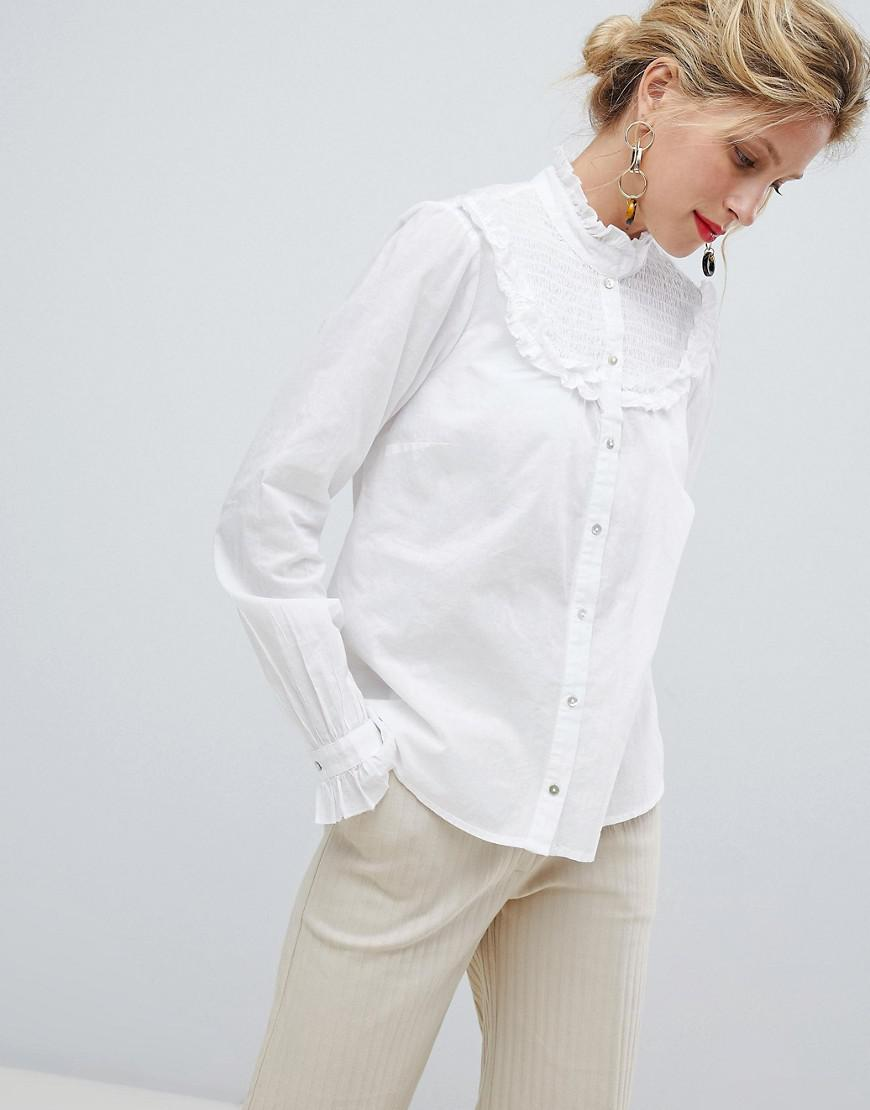 59b70f7be7418a Lyst - Y.A.S High Neck Smock Detail Shirt in White
