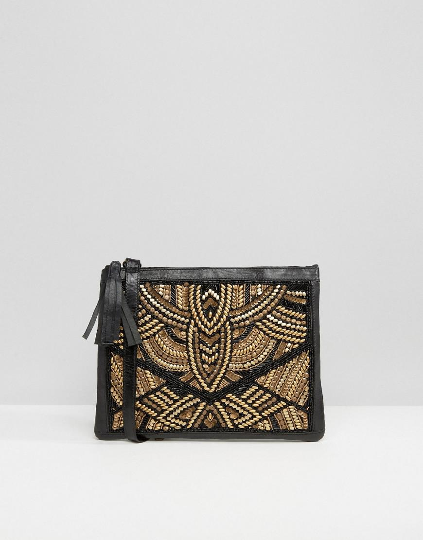 Handmade Beaded Clutch Bag - Black gold Park Lane X0FF8w