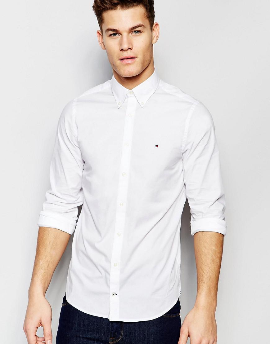 81665535 Tommy Hilfiger. Men's Poplin Shirt With Stretch In Slim Fit In White