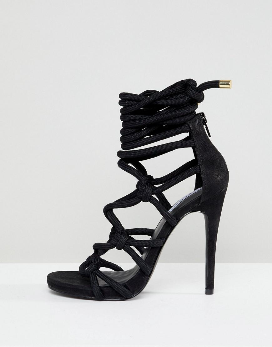0d09e7d019b6 Steve Madden Dream Rope Tie Up Heeled Sandals in Black - Lyst