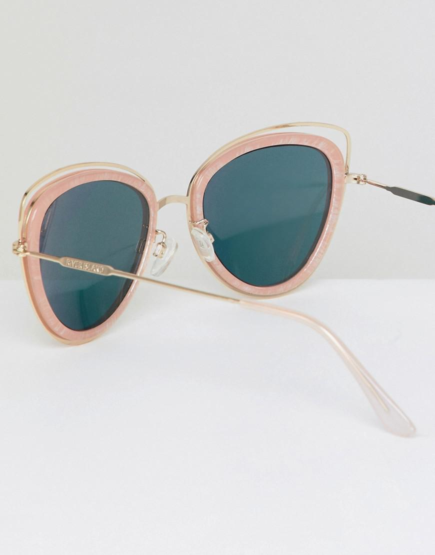 230a3b71f09 Lyst - River Island Marble Effect Cat Eye Sunglasses in Pink