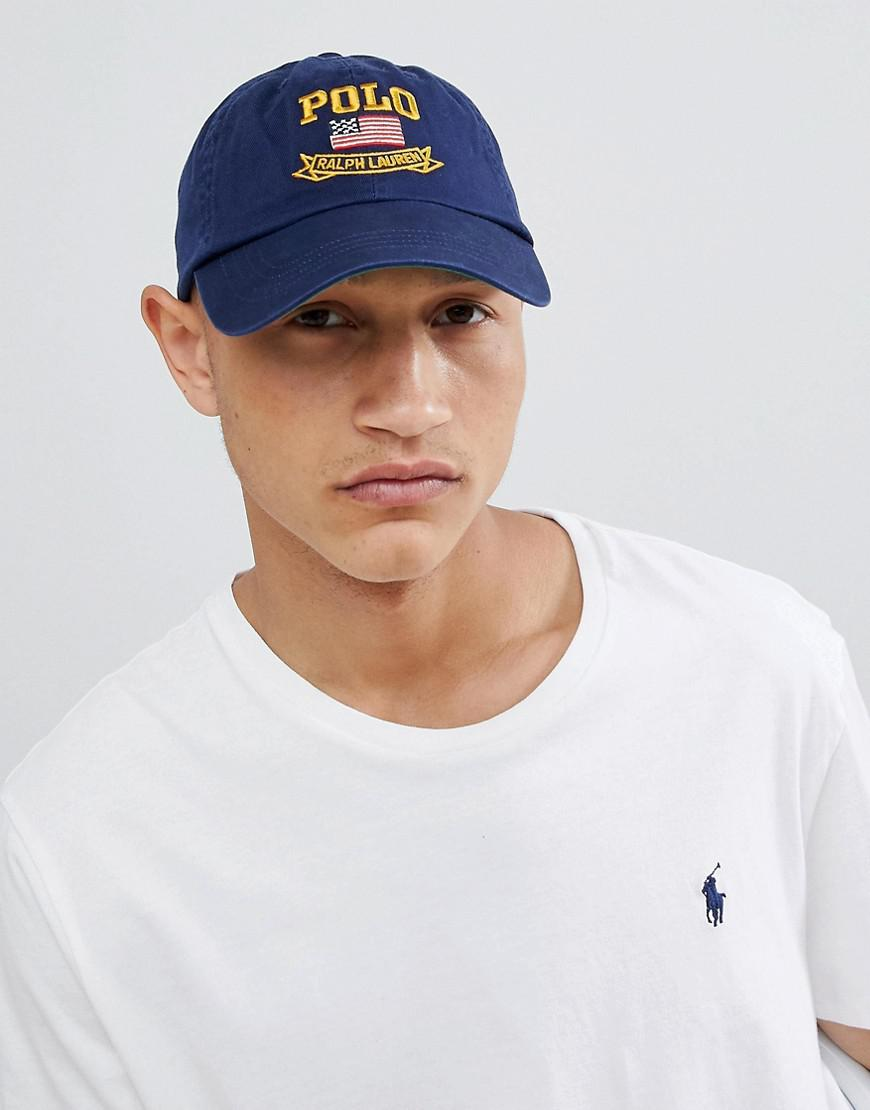 Polo Ralph Lauren Flag Logo Baseball Cap In Navy in Blue for Men - Lyst e50c27cedb5