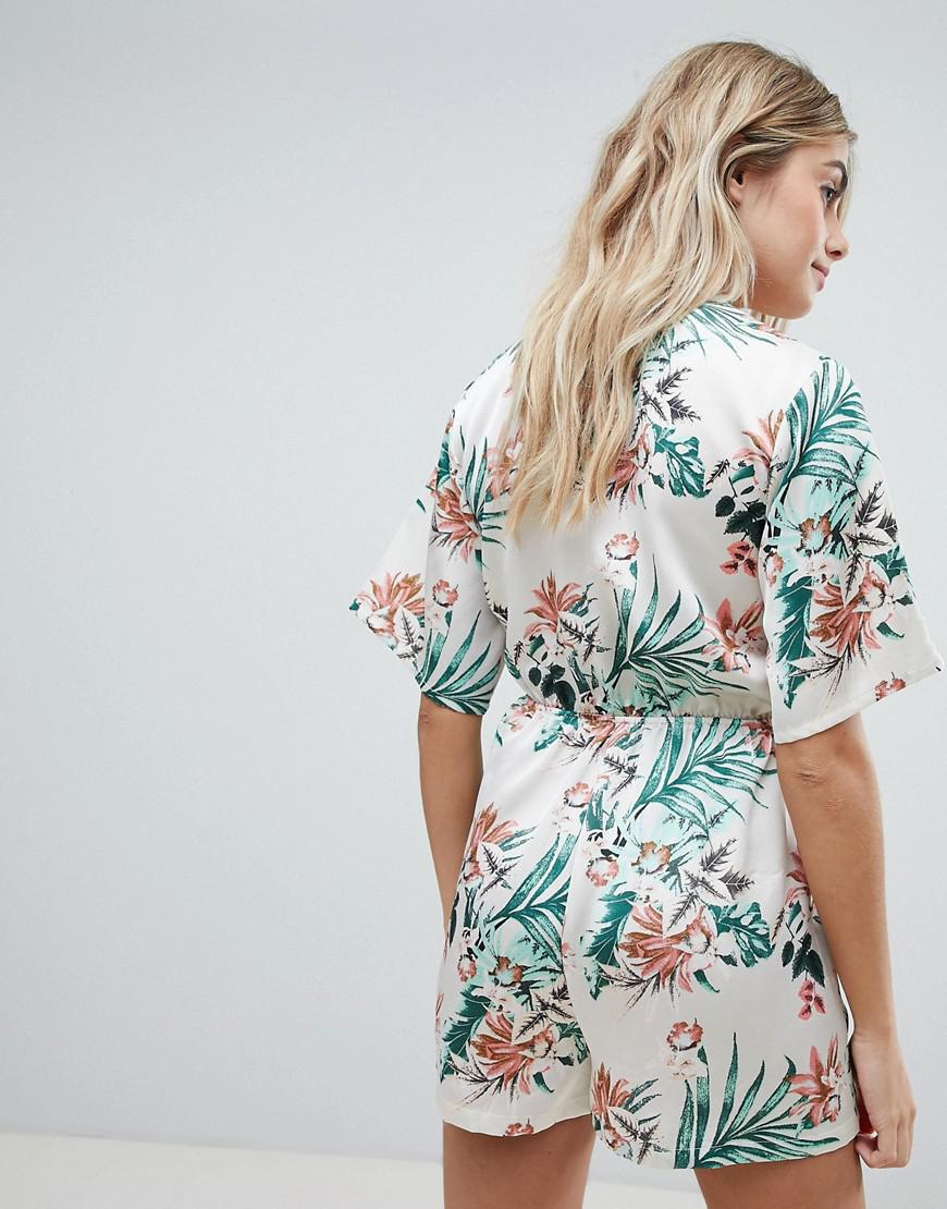 d6f8ddecda Missguided Tropical Print Tie Front Playsuit in Natural - Lyst