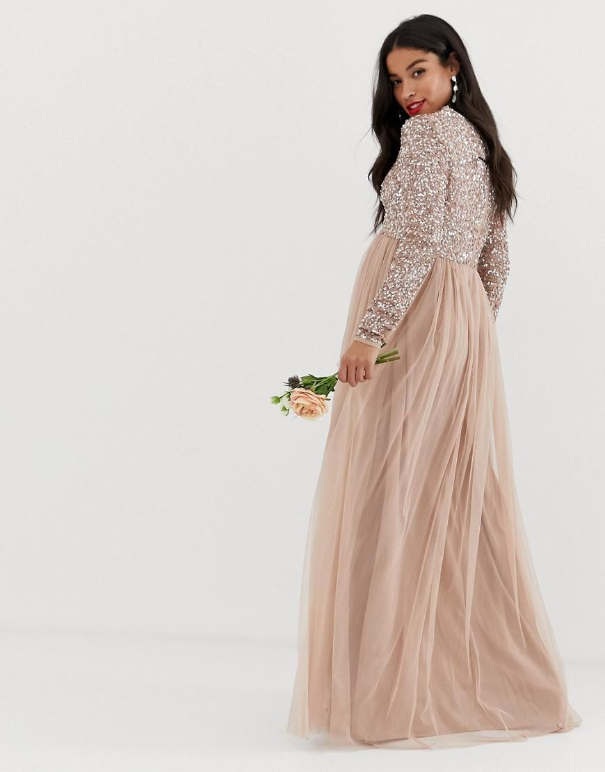 ca342125c379 Lyst - Maya Maternity Bridesmaid Long Sleeved Maxi Dress With Delicate  Sequin And Tulle Skirt In Taupe Blush in Brown