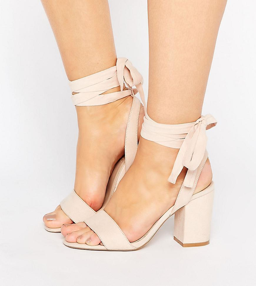 5df4086fe45 Lyst - ASOS Holding On Wide Fit Tie Leg Sandals in Natural