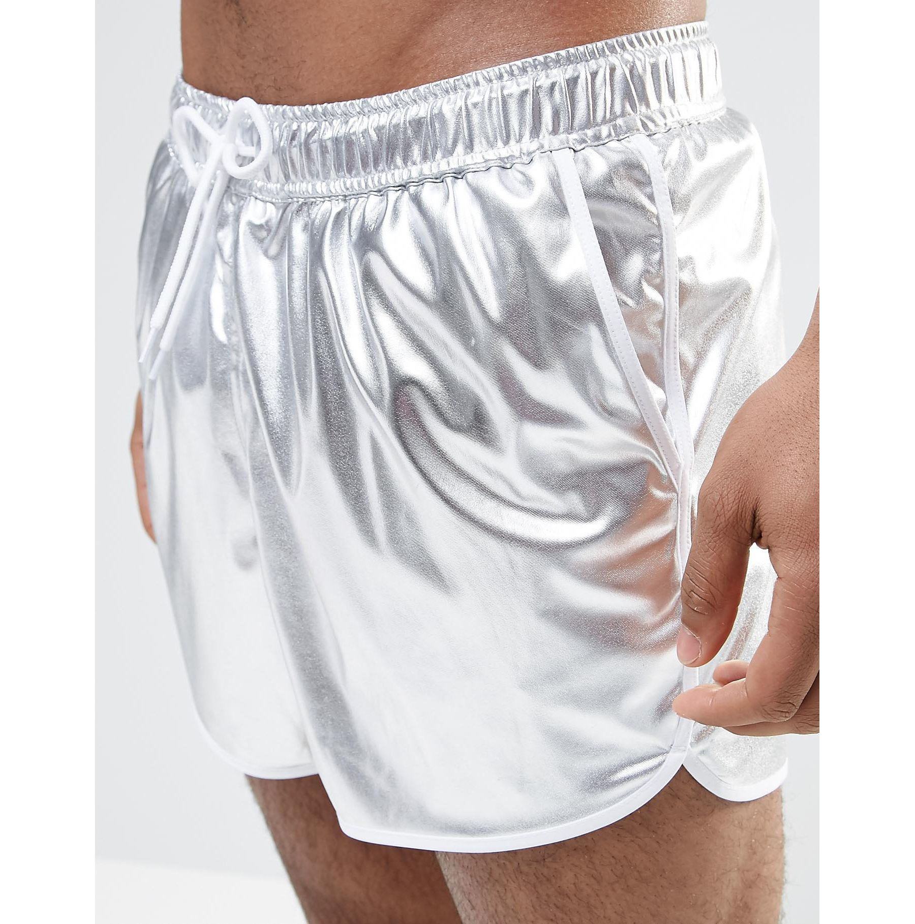 42708fdc00 ASOS Short Length Runner Swim Shorts In Metallic Silver - Silver in ...