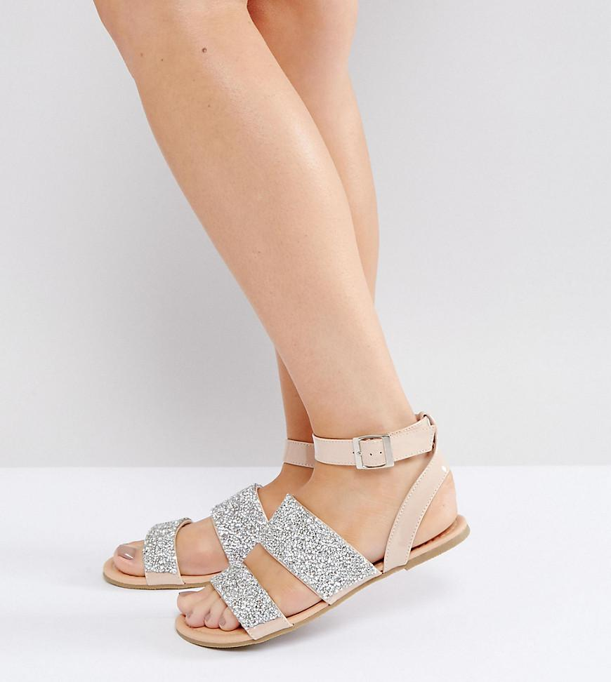 fa3ed7491939 ASOS Fancy Feet Wide Fit Embellished Flat Sandals in .