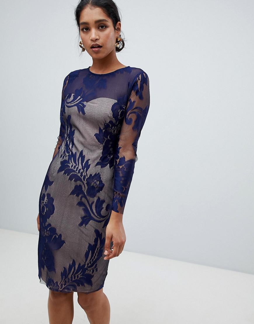 3868bda1d1be8 Lyst - Little Mistress Baroque Lace Shift Dress in Blue
