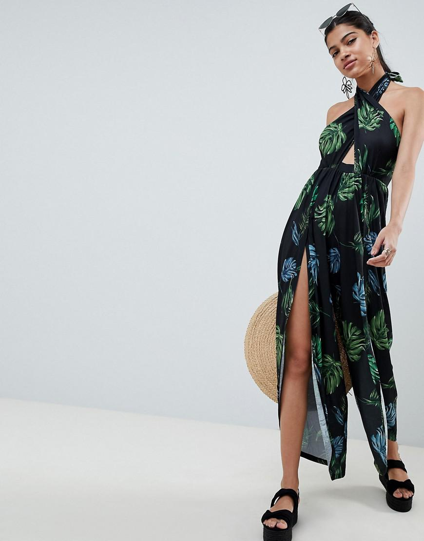 12e192fdd92 Asos Cross Front Jumpsuit With Wrap Leg Detail In Dark Leaf Print - Lyst