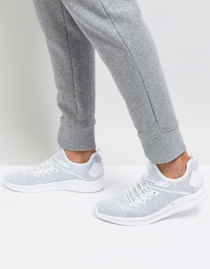 sports shoes f89e1 3ff67 PUMA Ignite Flash Evo Knit Trainers In White 19050803 in ...