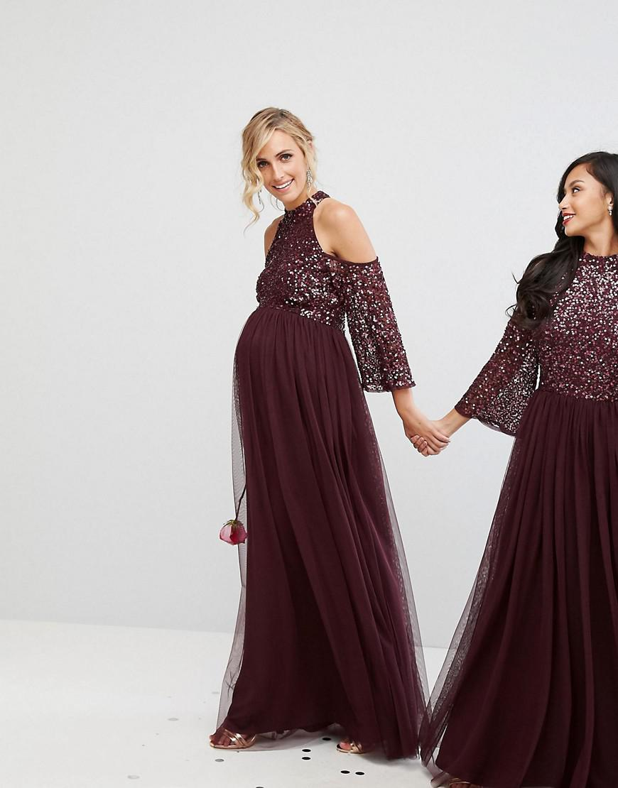 b274716c9750b Maya Long Sleeved Maxi Dress With Delicate Sequin And Tulle Skirt Grey