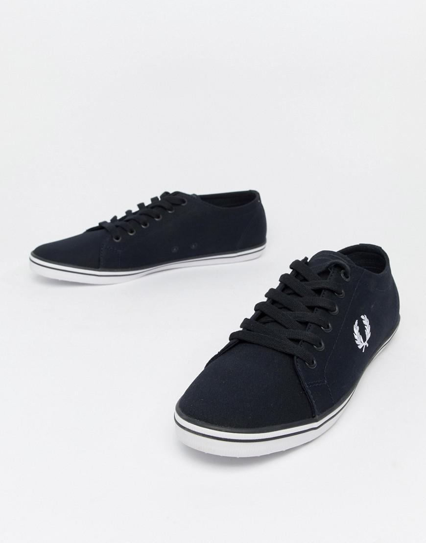 Lyst - Fred Perry Kingston Twill Plimsolls In Navy in Blue for Men f0f8e030c27