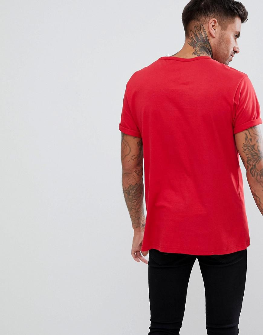 479d21e5a Lyst - River Island Roll Sleeve T-shirt With Pocket In Red in Red ...
