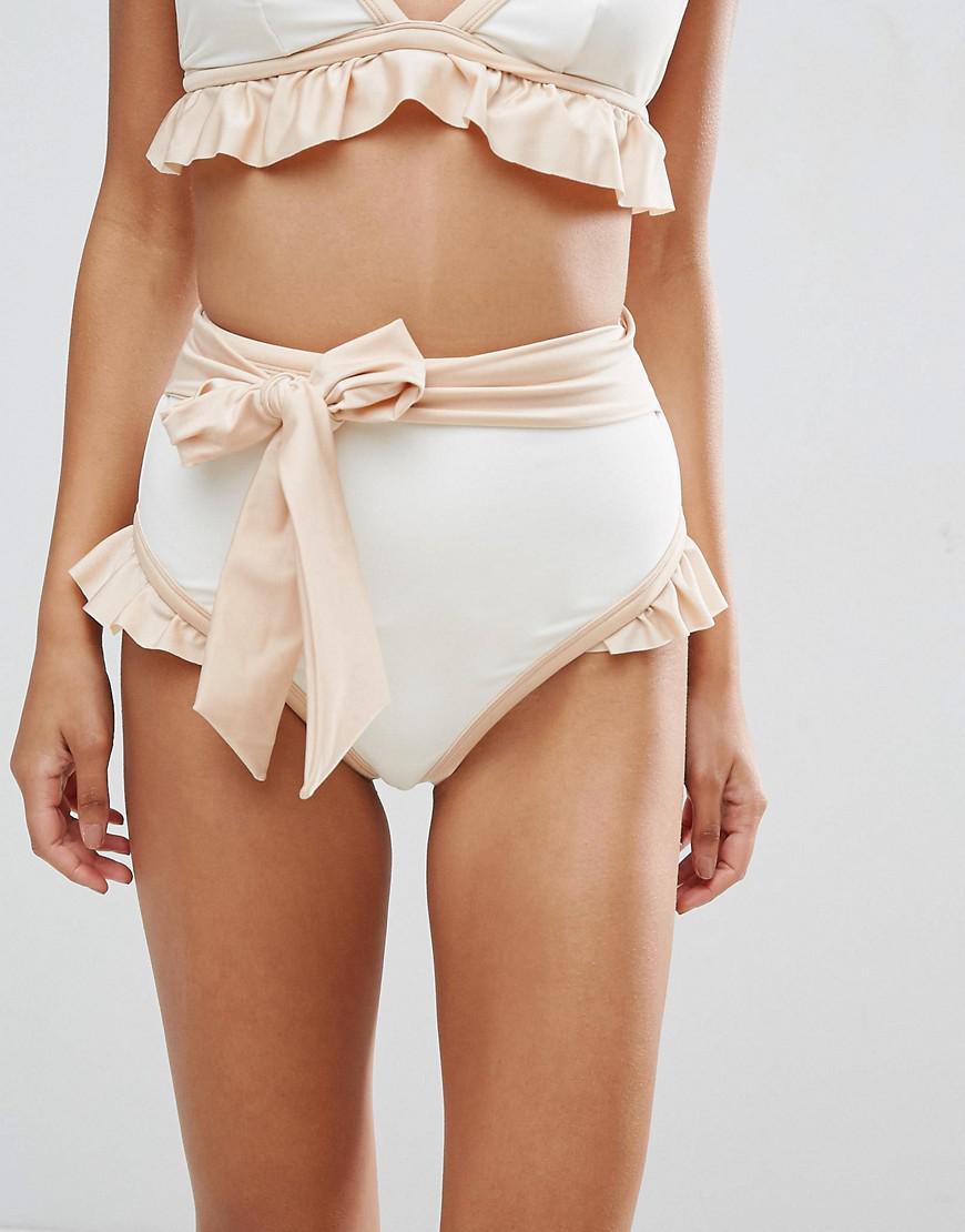 c4eccedbe88c2 ASOS Bridal Contrast Tie High Waist Frill Bikini Bottom in White - Lyst