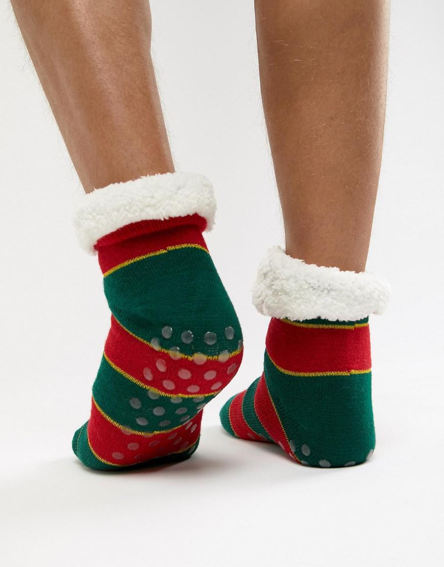 ASOS. Men s Christmas Slipper Socks In Glitter Stripes With Fluffy Lining 362056e8fbc