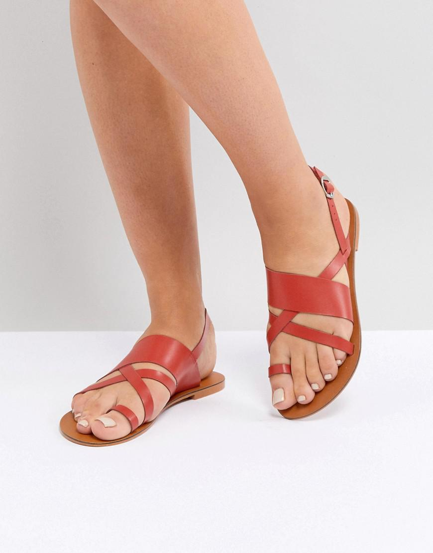 e20f77a3df14a4 Lyst - ASOS Asos Finley Leather Flat Sandals in Red