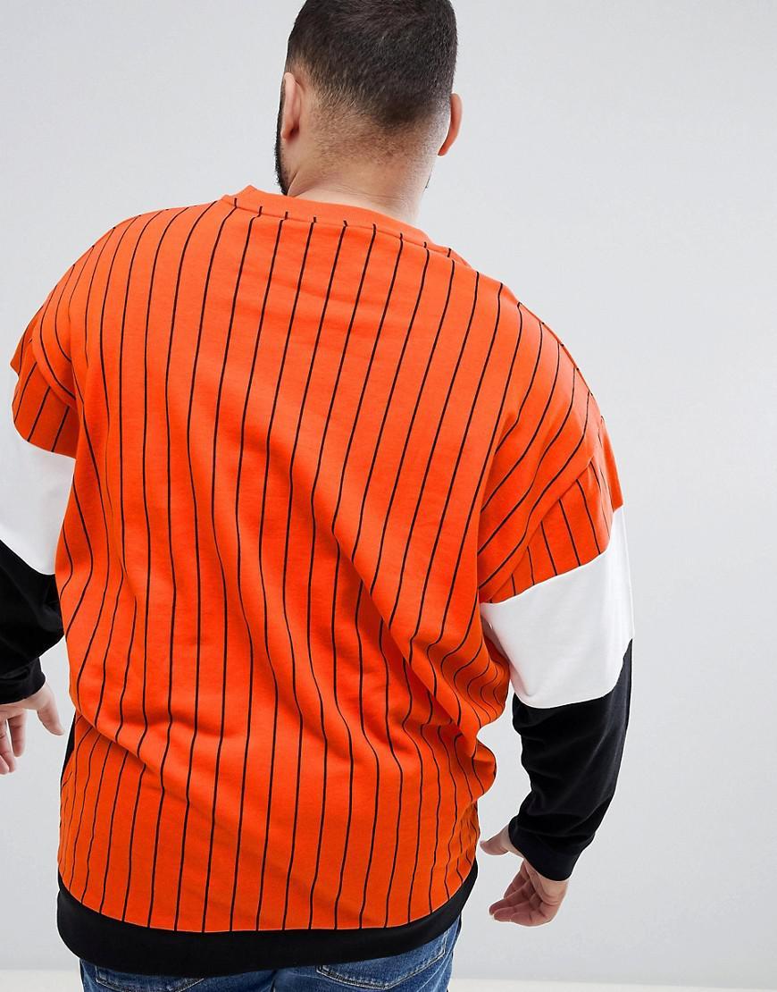 Asos Color Pour Effet Oversize Sweat Avec Lyst Rayures Shirt Block wqpH7S8Bx