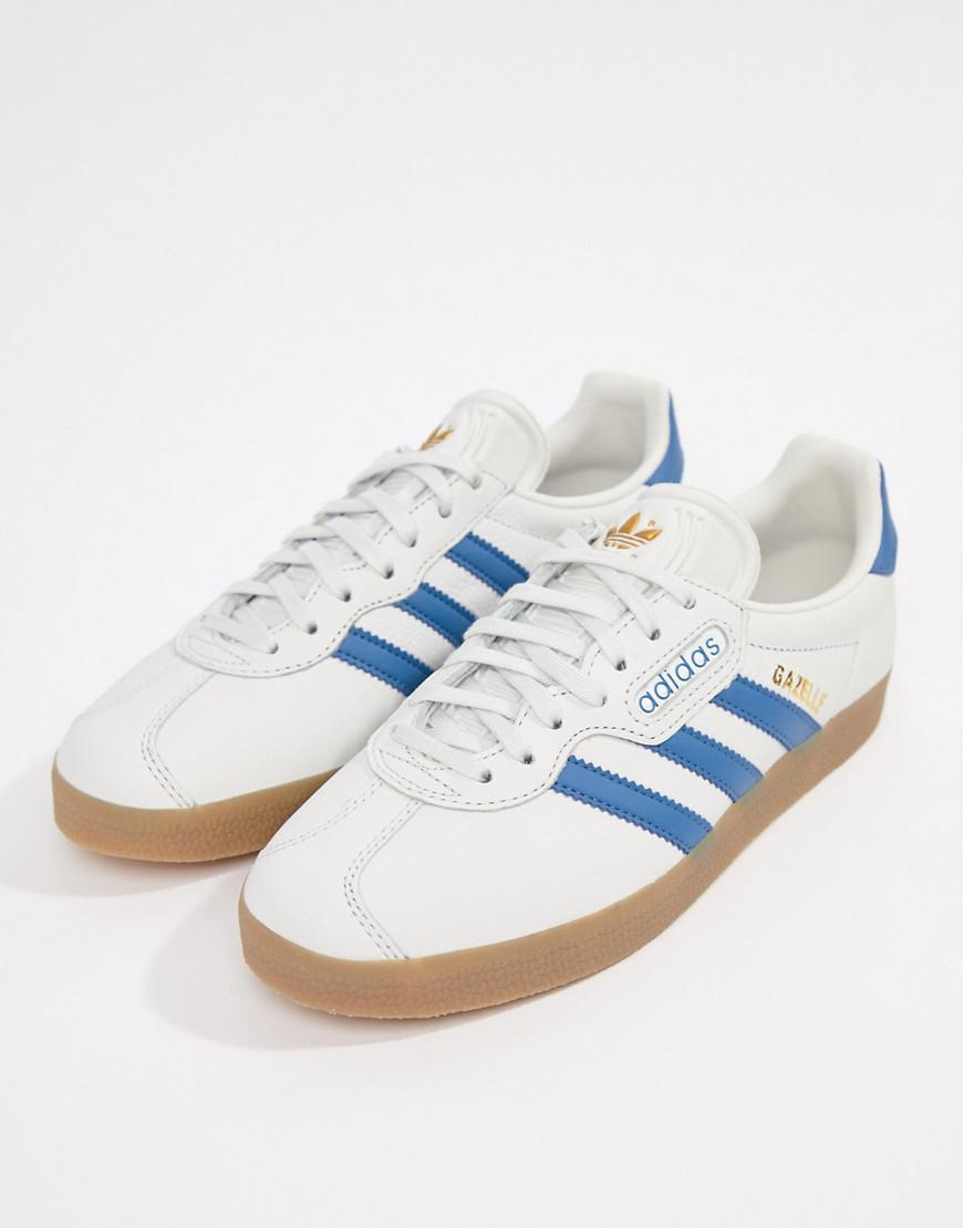 hot sale online 13048 c9bd1 ... order lyst adidas originals gazelle super trainers in white and blue in  black bcd25 3c7bf