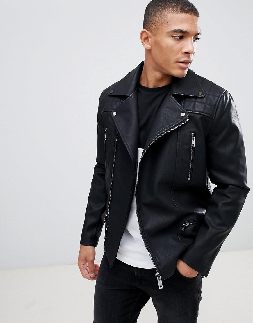 New Look Biker Jacket With Zip Detail In Black In Black For Men Lyst