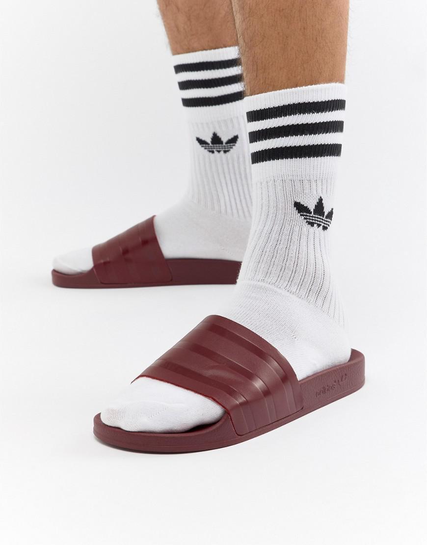 175e5e9eb57db Lyst - adidas Originals Adilette Sliders In Red Cq3095 in Pink for Men