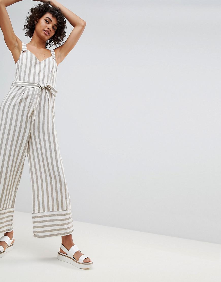 6301692d1592 Stradivarius. Women s Striped Linen Jumpsuit