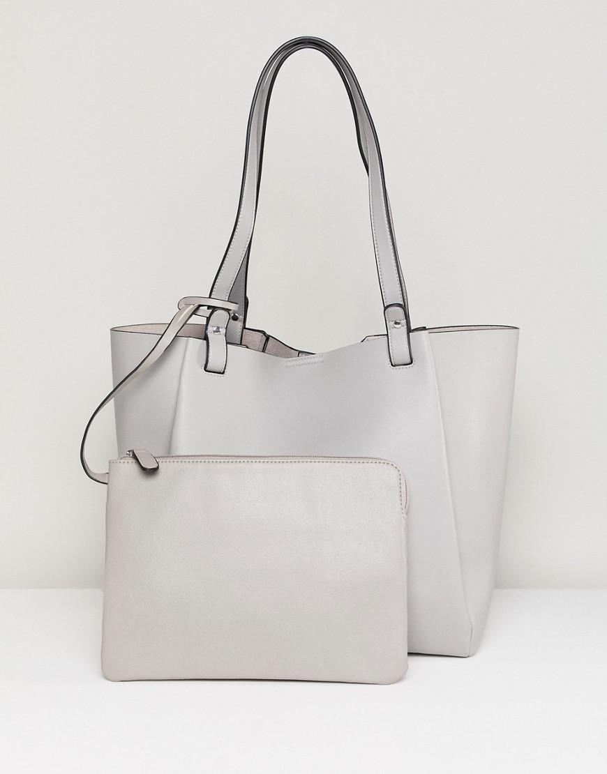 asos design bonded shopper bag with removable tablet case in gray lyst