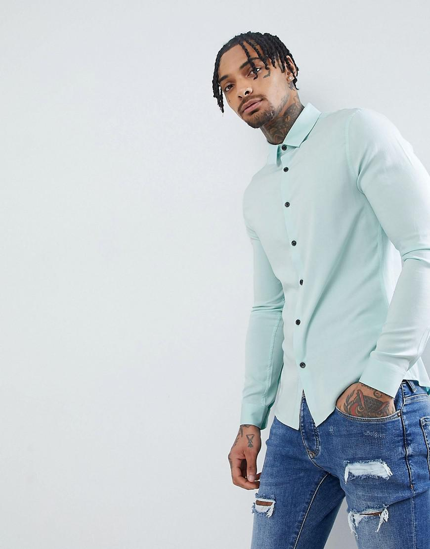 Clearance Finishline Wiki DESIGN Skinny Viscose Shirt In Pale Blue - Blue Asos Sale New Styles Cheap Brand New Unisex Big Discount Sale Online vI7Xdjl