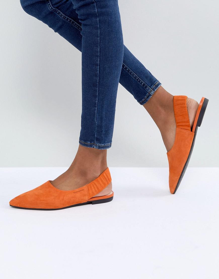 09dd82d55f13 Lyst - Vagabond Katlin Orange Suede Sling Back Pointed Flat Shoes in ...