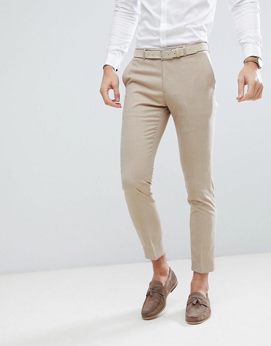 Lyst - Moss Bros Moss London Skinny Wedding Suit Trousers In Latte ...
