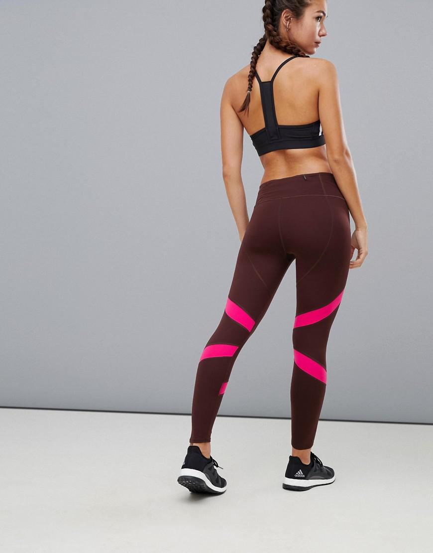 8bf416ca9257e adidas Running How We Do Leggings In Burgundy Color Block in Red - Lyst