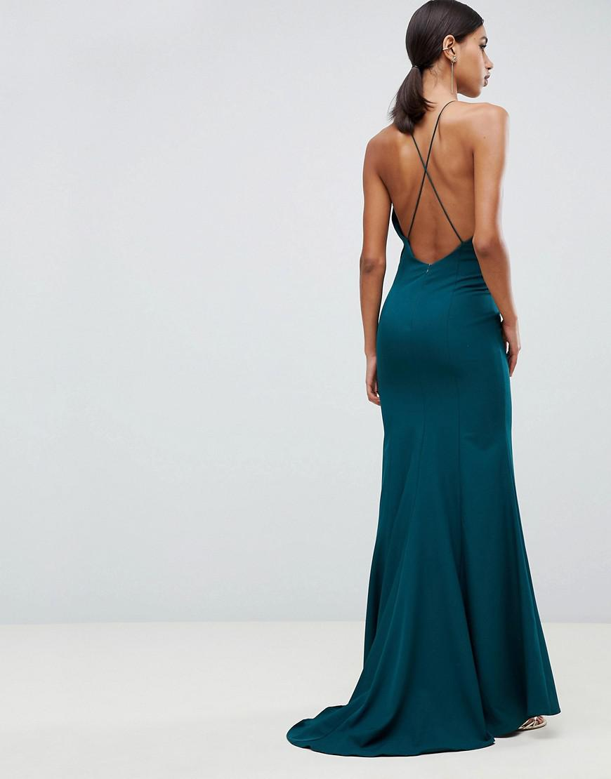 3652bf94ea51 Jarlo - Fishtail Maxi Dress With Strappy Back In Green - Lyst. View  fullscreen