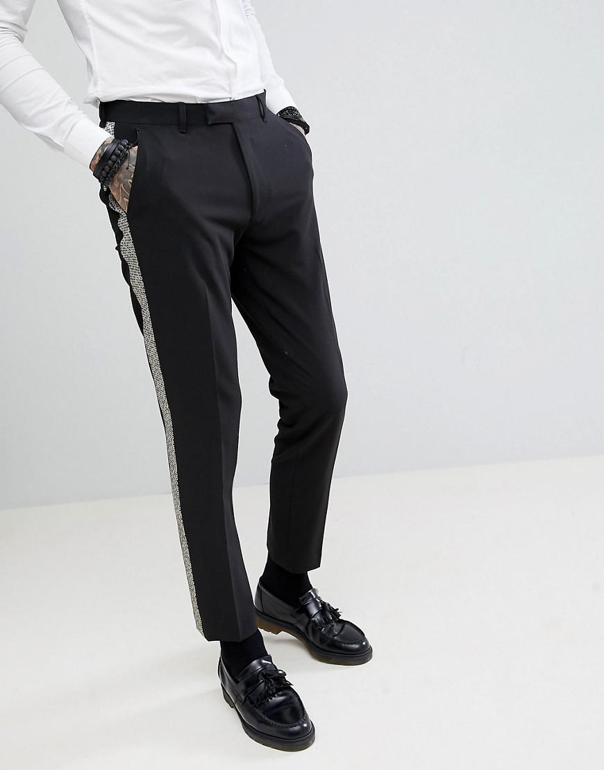 DESIGN Skinny Trousers In Black With Checkerboard Side Tape - Black Asos jk3jaC