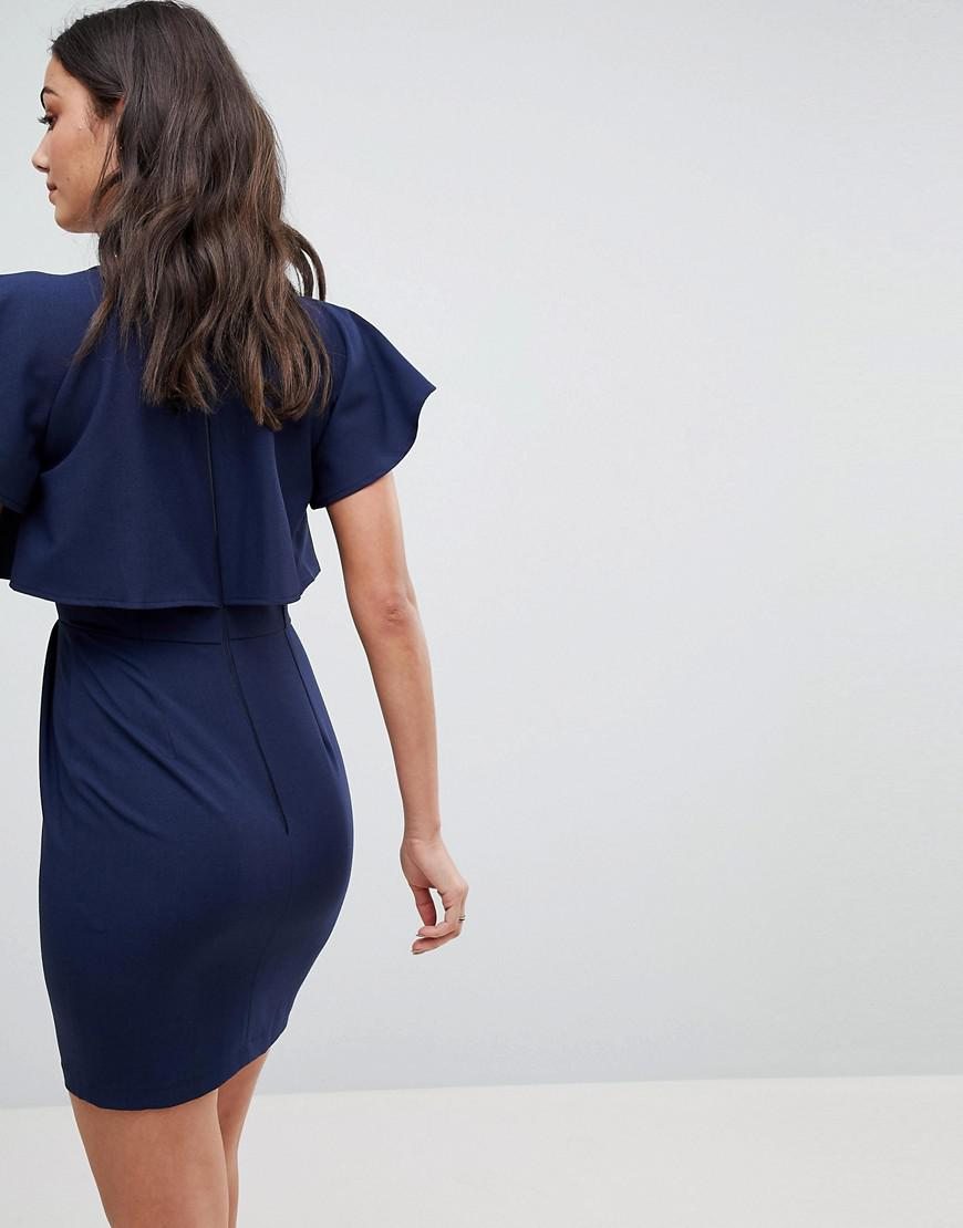 781af7703d2 Lyst - ASOS Double Layer Mini Wiggle Dress With Angel Sleeve in Blue