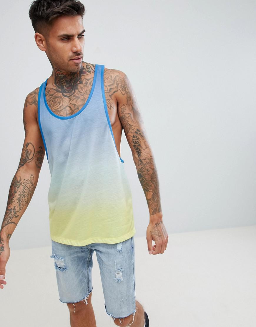 0fcfd8e02c37 ASOS Extreme Racer Back Singlet With Ombre Dip Dye In Blue in Blue ...