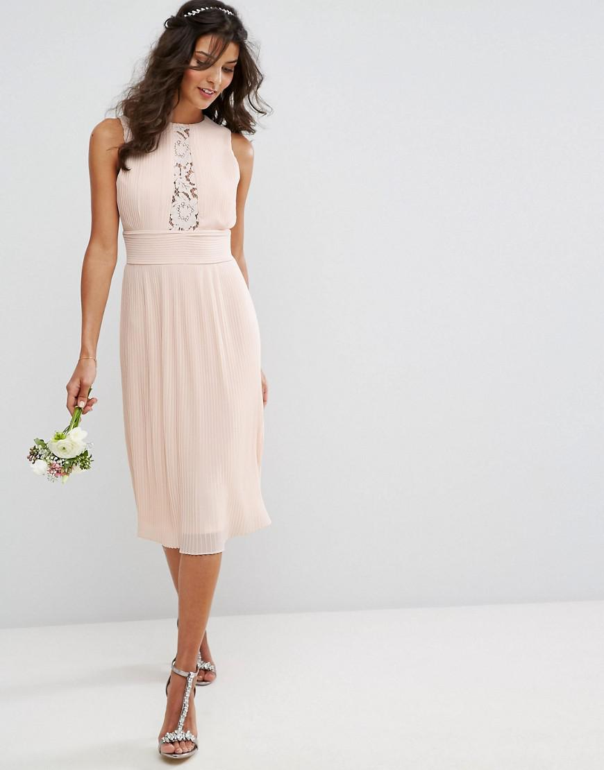 d52de4456ed4 Lyst - TFNC London Wedding Pleated Midi Dress With Lace Inserts in Pink